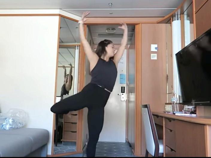 Jordan Bauth practices her figure-skating routine in her cruise cabin.