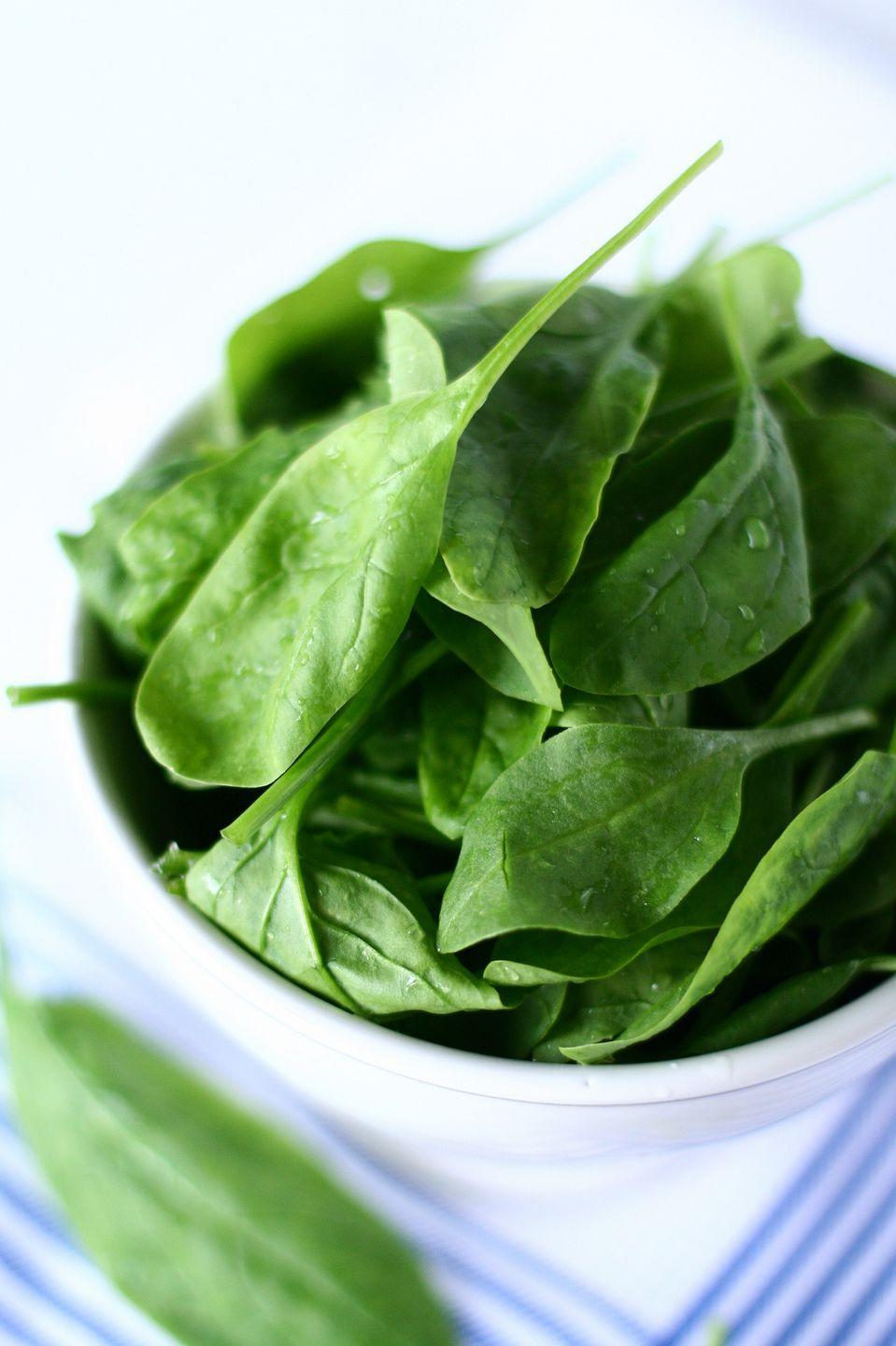 "<p><a href=""https://www.goodhousekeeping.com/health/diet-nutrition/a19500845/spinach-nutrition/"" rel=""nofollow noopener"" target=""_blank"" data-ylk=""slk:Adding more leafy greens"" class=""link rapid-noclick-resp"">Adding more leafy greens</a> to your plate can help lower cholesterol by promoting your body production of nitric oxide (NO), which helps dilate blood vessels and reduce atherosclerosis. </p>"