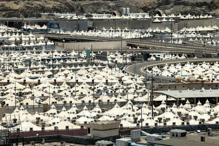 Tents are set up in vast camps to host pilgrims in Mina, sited in a narrow valley surrounded by rocky mountains