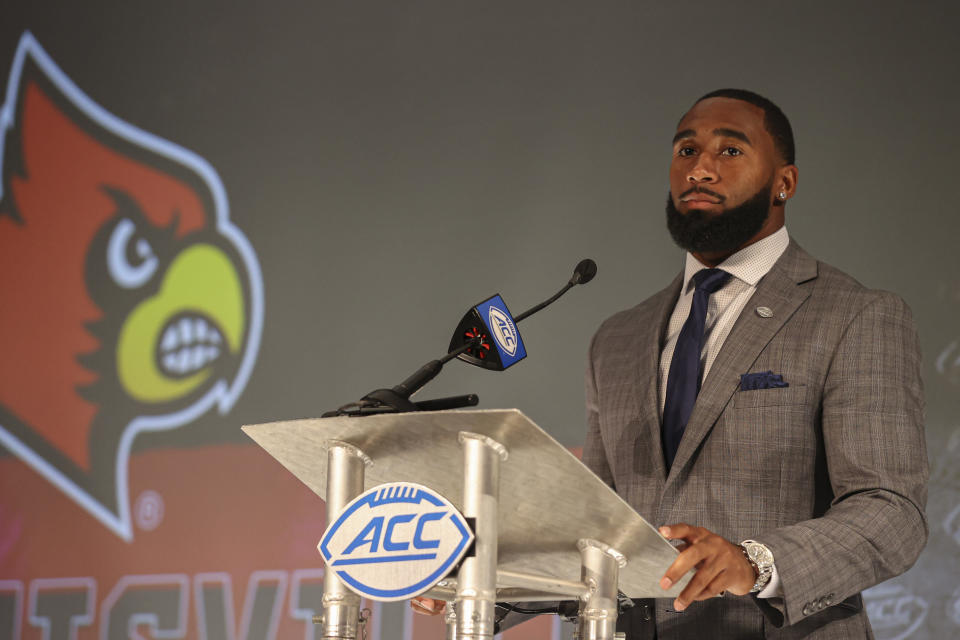 Louisville linebacker C.J. Avery listens to a question during an NCAA college football news conference at the Atlantic Coast Conference media days in Charlotte, N.C., Thursday, July 22, 2021. (AP Photo/Nell Redmond)