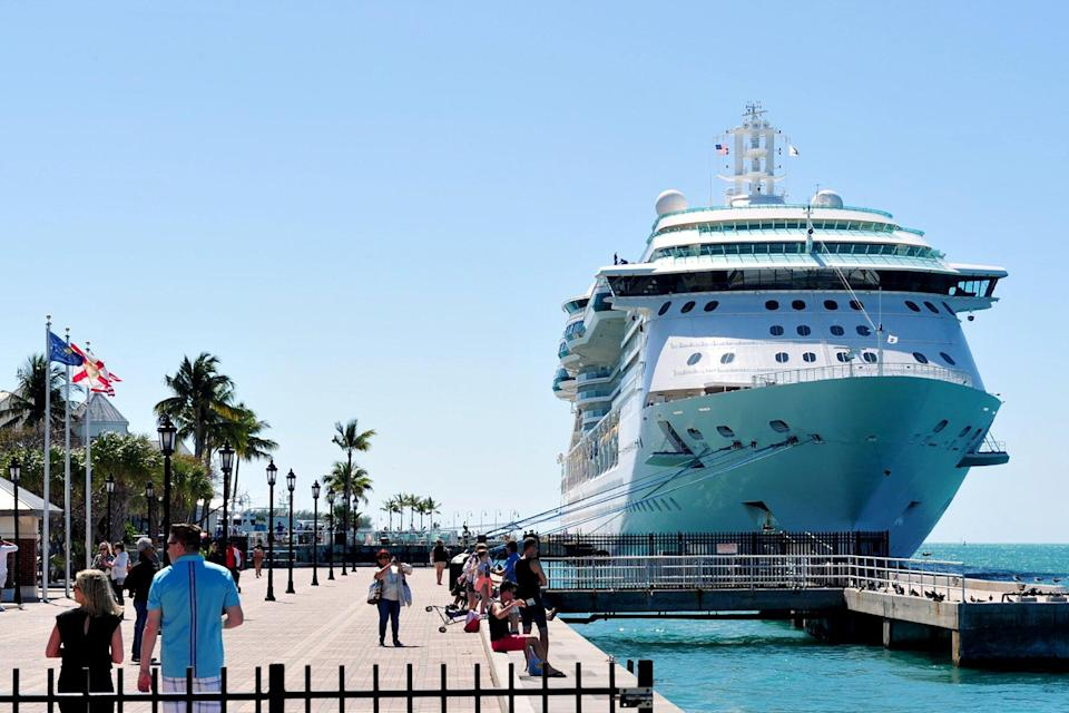 Royal Caribbean's Brilliance of the Seas cruise ship in the Port of Key West in Key West, Florida.