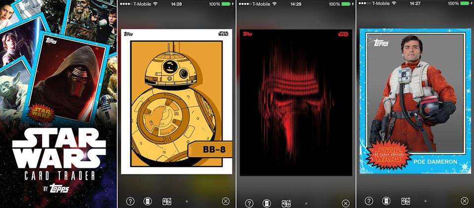 <p>Here's a peek at Topps's 'Force Awakens' update to its popular Card Trader app.</p>