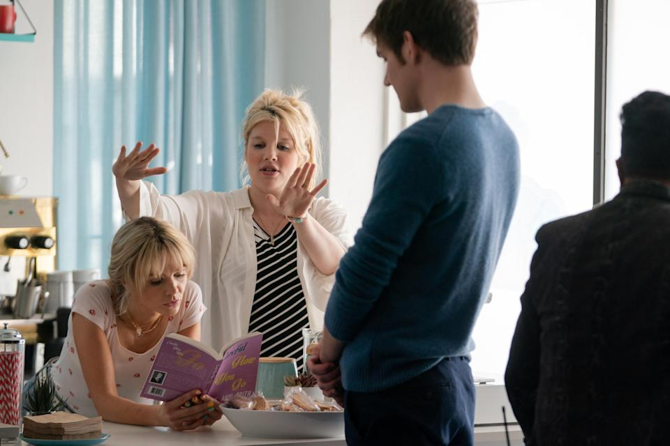 Emerald Fennell on set with Carey Mulligan and Bo Burnham (Merie Weismiller Wallace/Focus Features)