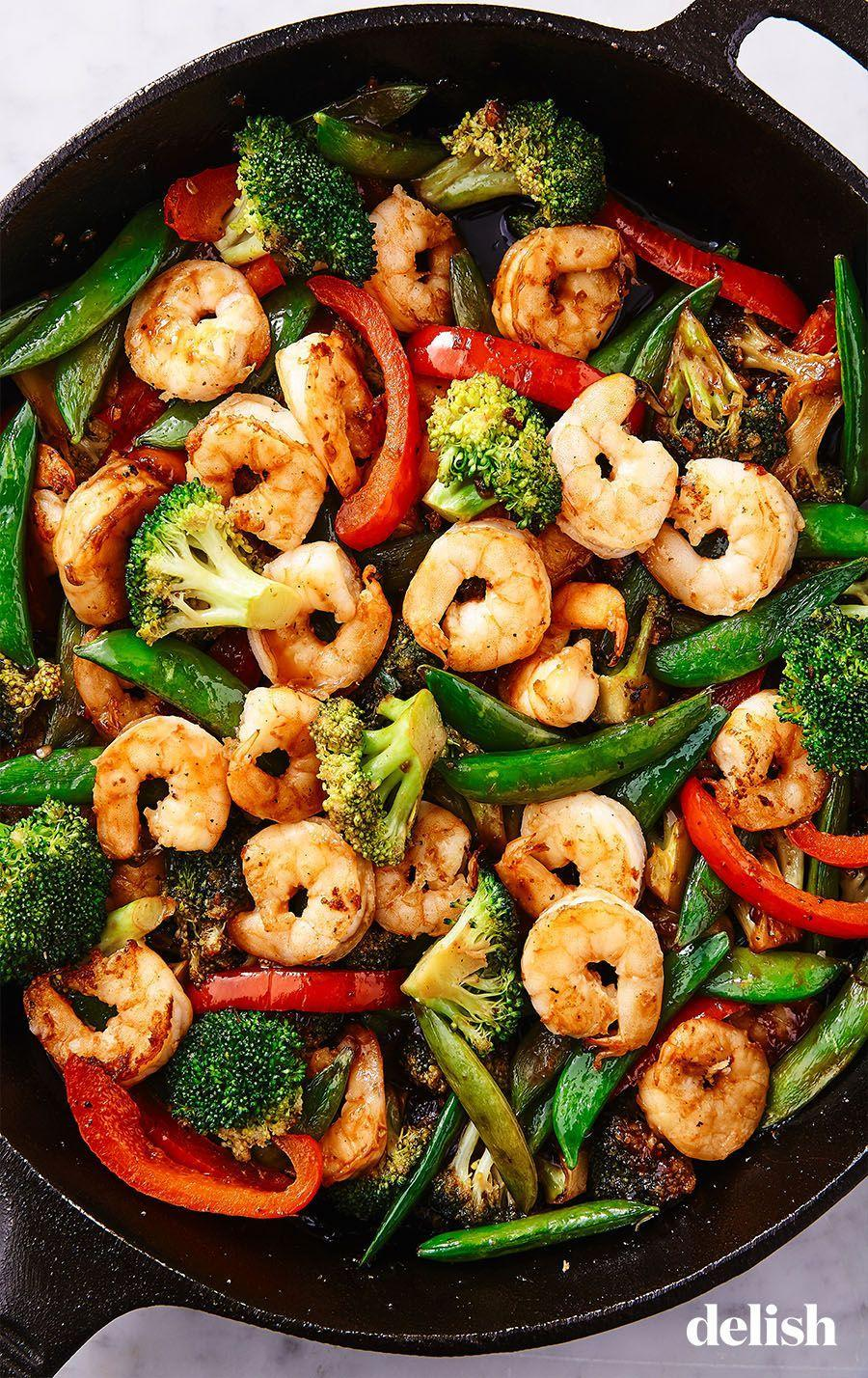 """<p>So simple to throw together, and filled with so much flavor. </p><p>Get the recipe from <a href=""""https://www.delish.com/cooking/recipe-ideas/a25636180/shrimp-stir-fry-recipe/"""" rel=""""nofollow noopener"""" target=""""_blank"""" data-ylk=""""slk:Delish"""" class=""""link rapid-noclick-resp"""">Delish</a>.</p>"""
