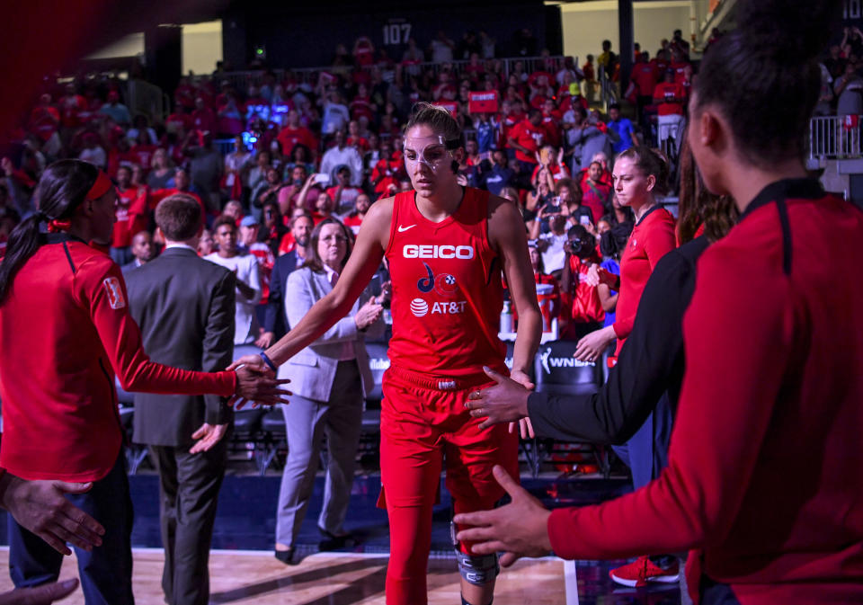 WASHINGTON, DC - OCTOBER 1:  Washington Mystics forward Elena Delle Donne (11) during player introductions during game two of  the WNBA Finals . (Photo by Jonathan Newton / The Washington Post via Getty Images)