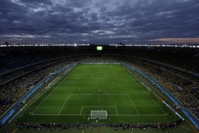 FILE - In this July 8, 2014 file photo, a view of the pitch during the World Cup semifinal soccer match between Brazil and Germany at the Mineirao Stadium in Belo Horizonte, Brazil. Four years after the World Cup, Brazils massive corruption probes have cleared only two of the 12 stadiums. Executives of meatpacking company JBS said the reconstruction work at the 62,000-seat venue in Belo Horizonte was used to pay bribes of about $8 million to political campaigns of state Gov. Fernando Pimentel, who has had a shaky time in office due to corruption allegations that he denies. (AP Photo/Felipe Dana, File)
