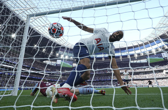 Tottenham Hotspur's Lucas Moura celebrates their side's second goal of the game against Aston Villa, during the English Premier League soccer match at the Tottenham Hotspur Stadium, London, Sunday, Oct. 3, 2021. (Nick Potts/PA via AP)