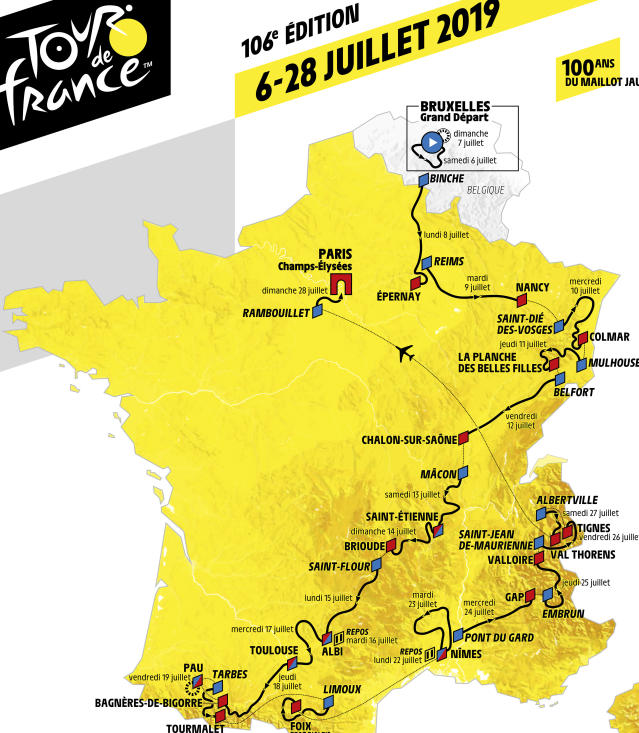 This photo provided Thursday, Oct.25, 2018 by Tour de France organizer ASO (Amaury Sport Organisation) shows the roadmap of the 2019 Tour de France cycling race. The race will start in Brussels, Belgium, on July 6 to end on Paris's famed Champs Elysees avenue on July 28, 2019. (ASO via AP)