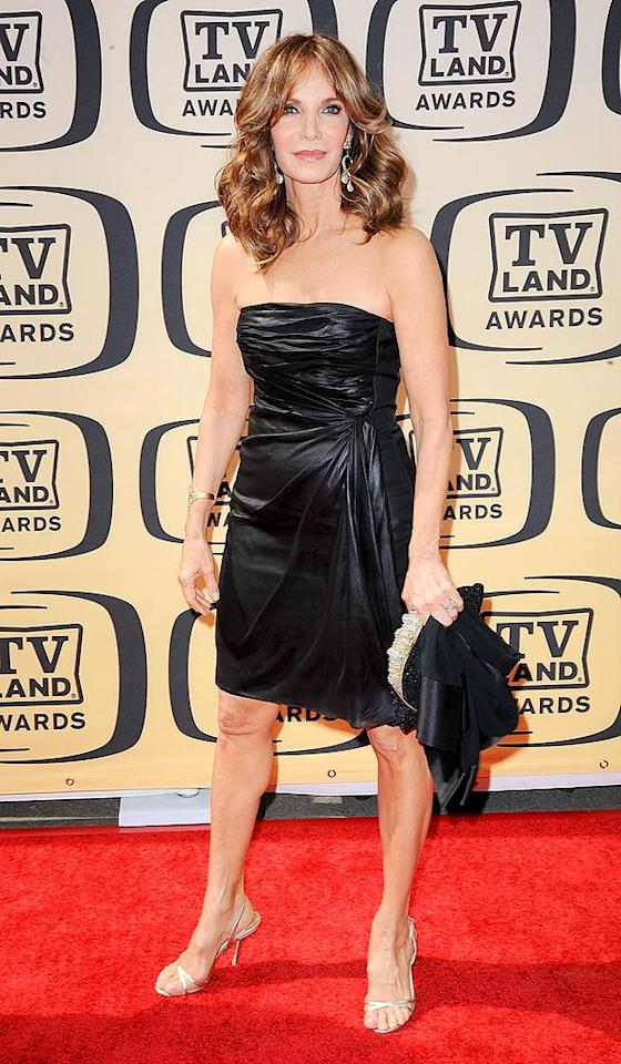 """Although we missed her as the host of """"Shear Genius"""" this season, we were beyond thrilled to see 62-year-old Jaclyn Smith back in action and looking better than ever at the 8th Annual TV Land Awards in a strapless leather dress and sparkly sandals. Michael Kovac/<a href=""""http://www.filmmagic.com/"""" target=""""new"""">FilmMagic.com</a> - April 17, 2010"""