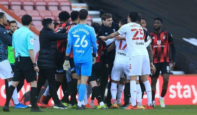Tempers flare between the Bournemouth and Watford players