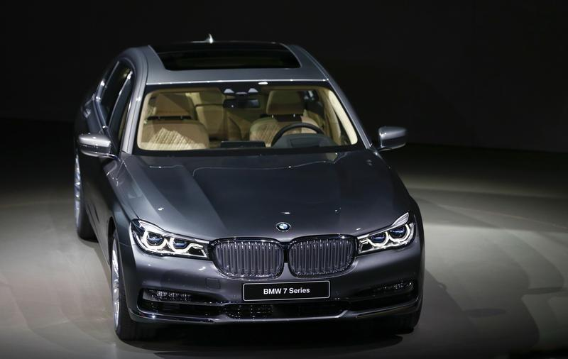 The new BMW 7 series car is pictured during the world premiere at the company's headquarters in Munich