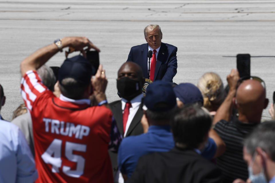 President Donald Trump speaks during an event at Burke Lakefront Airport in Cleveland, Ohio, Thursday, Aug. 6, 2020. (AP Photo/Susan Walsh)