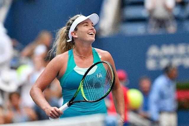 CoCo Vandeweghe of the US celebrates after defeating Lucie Safarova of the Czech Republic during the US Open on September 4, 2017 (AFP Photo/Jewel SAMAD)