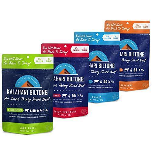 """<p><strong>Kalahari Biltong</strong></p><p>amazon.com</p><p><strong>$29.99</strong></p><p><a href=""""https://www.amazon.com/dp/B07Z11Q815?tag=syn-yahoo-20&ascsubtag=%5Bartid%7C10050.g.23554474%5Bsrc%7Cyahoo-us"""" rel=""""nofollow noopener"""" target=""""_blank"""" data-ylk=""""slk:Shop Now"""" class=""""link rapid-noclick-resp"""">Shop Now</a></p><p>Dad will appreciate this portable jerky-like snack when he's spending hours in the tree stand. This healthy snack has just eight ingredients and no sugar. Go for the Spicy Peri Peri if he likes a little kick! </p>"""