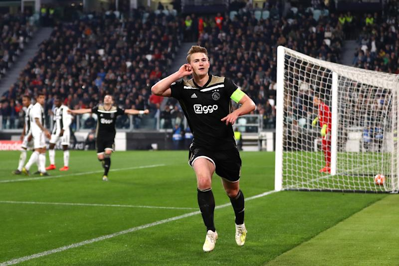 Matthijs de Ligt of Ajax celebrates after scoring against Juventus. (Credit: Getty Images)