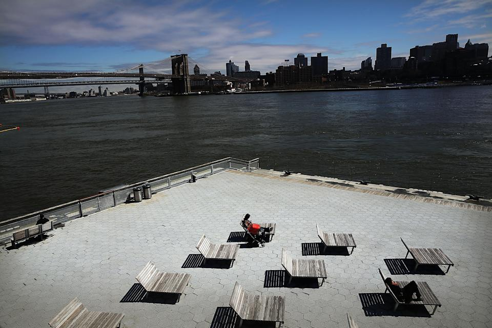 South Street Seaport, an area of lower Manhattan that was severely flooded during Hurricane Sandy, on March 31, 2014 in New York City (AFP Photo/Spencer Platt)