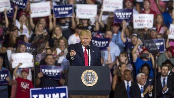 PHOTO: President Donald Trump speaks during a Keep America Great rally, July 17, 2019, in Greenville, North Carolina. (Zach Gibson/Getty Images, FILE)