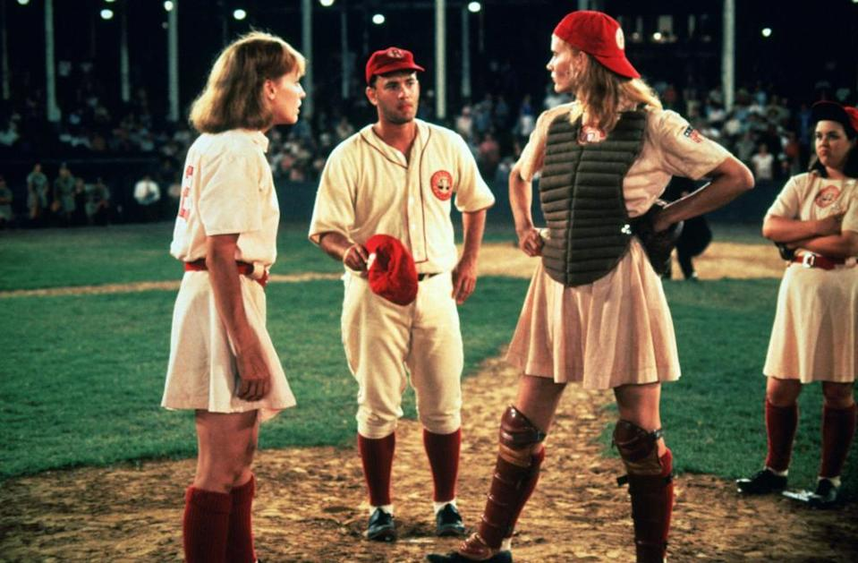 Lori Petty (left), Tom Hanks and Davis in 1992's A League of Their Own.