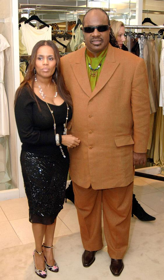 Kai Milla and husband Stevie Wonder during Stevie Wonder Attends His Wife Kai Milla's Fashion Show - December 11, 2005 at Saks Jandel in Washington, D.C., -, United States. (Photo by Jeff Snyder/WireImage)