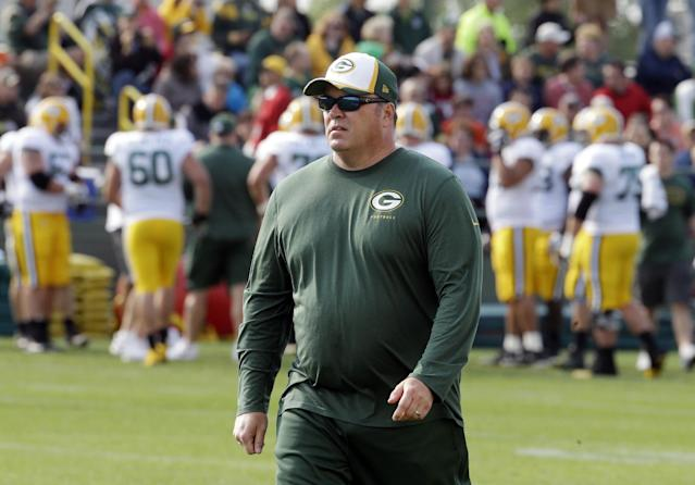 Green Bay Packers head coach Mike McCarthy watches during NFL football training camp Monday, July 28, 2014, in Green Bay, Wis. (AP Photo/Morry Gash)