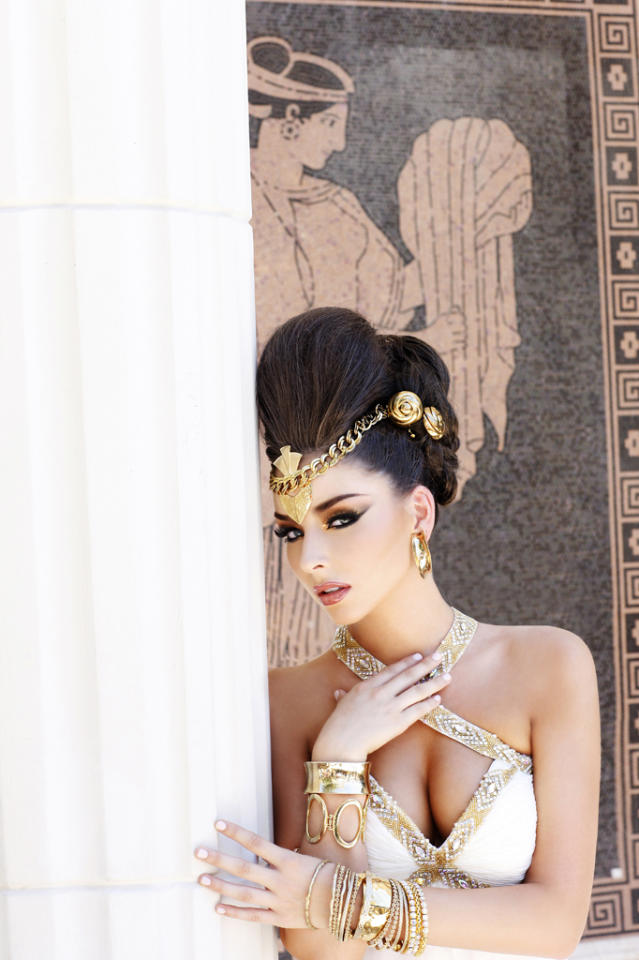 "Miss New Hampshire USA 2012, Ryanne Harms, poses for fashion photographer Fadil Berisha at the ""Gardens of Goddess"" photo shoot at Caesar's Palace Las Vegas Hotel & Casino pool. Tune in to NBC, June 3 at 9PM EST  for the live telecast of the 2012 Miss USA Competition to see who takes home the Diamond Nexus crown.  HO/Miss Universe Organization L.P., LLLP--RETOUCHED AND ALTERED FOR GLAMOR--"