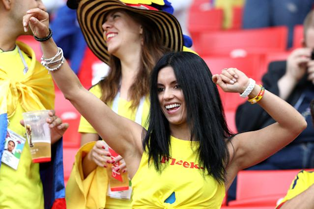 <p>A Colombia fan shows her support in the stands prior to the FIFA World Cup 2018, round of 16 match at the Spartak Stadium, Moscow. (Photo by Owen Humphreys/PA Images via Getty Images) </p>