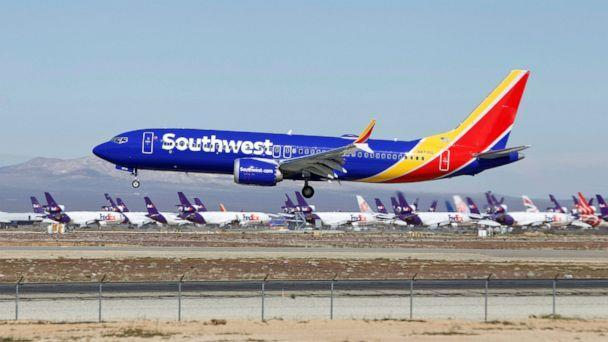 PHOTO: In this March 23, 2019 file photo a Southwest Airlines Boeing 737 Max aircraft lands at the Southern California Logistics Airport in the high desert town of Victorville, Calif. (AP Photo/Matt Hartman)