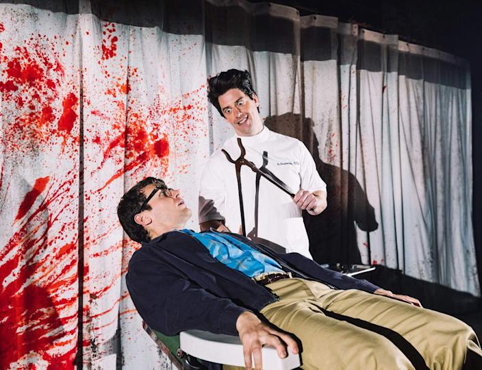 """<div class=""""inline-image__caption""""><p>Jonathan Groff as Seymour, in chair, and Christian Borle as Orin in 'Little Shop of Horrors'</p></div> <div class=""""inline-image__credit"""">Courtesy Emilio Madrid</div>"""