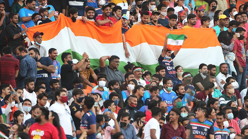 Fans have been barred from the remaining three T20 matches between India and England at the Narendra Modi Stadium in Ahmedabad. (Photo by Surjeet Yadav/Getty Images)