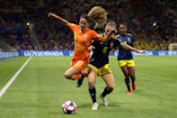 Danielle Van De Donk of the Netherlands is challenged by Magdalena Eriksson of Sweden during the 2019 FIFA Women's World Cup France Semi Final match between Netherlands and Sweden at Stade de Lyon on July 03, 2019 in Lyon, France. (Photo by Maja Hitij/Getty Images)