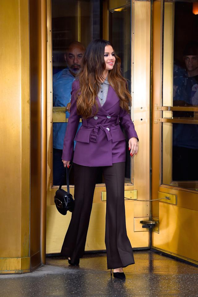I have to admit I wasn't a purple person until I saw this blazer Selena wore effortlessly. TBQH, she can pull off anything.