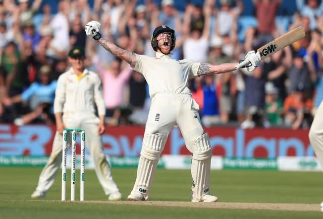 Ben Stokes celebrates after his astonishing 135 not out gave England one of their greatest victories to keep the Ashes series alive. The hosts surpassed their record Test run chase, reaching a target of 359 at Headingley to level at 1-1 following the third Test against Australia (Mike Egerton/PA)