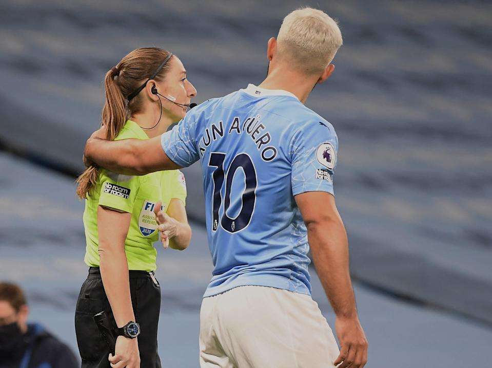 Sergio Aguero puts his arms around Sian Massey-Ellis' shoulder (Getty Images)