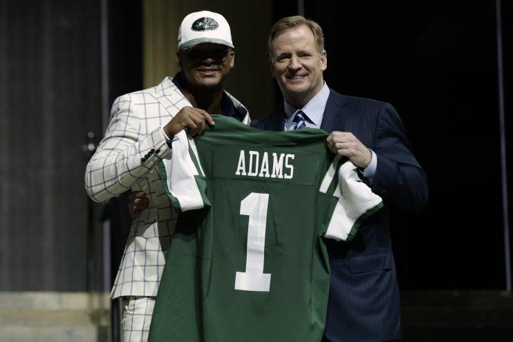 Roger Goodell and Jamal Adams after the Jets picked Adams in the first round of the 2017 draft. (AP)