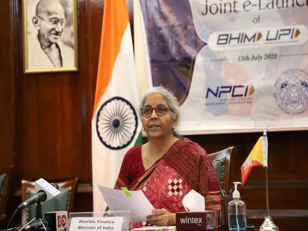 Union Finance Minister Nirmala Sitharaman during the launch of BHIM UPI in Bhutan (Picture/Finance Ministry's Twitter)