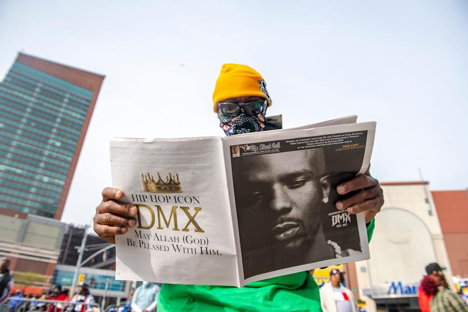 """People gather for a """"Celebration of Life Memorial"""" for rapper DMX at Barclays Center, Saturday, April. 24, 2021, in the Brooklyn borough of New York. DMX, whose birth name is Earl Simmons, died April 9 after suffering a """"catastrophic cardiac arrest."""""""