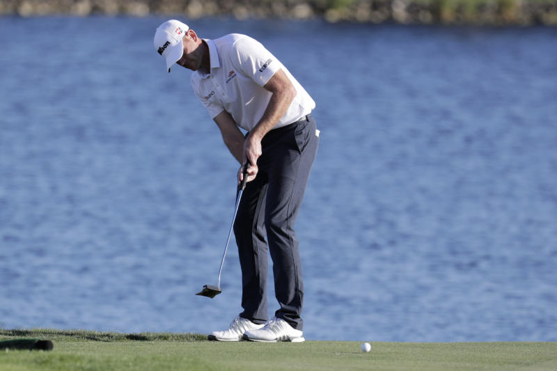 Brendan Steele hits from the 18th hole during the second round of the Honda Classic golf tournament, Friday, Feb. 28, 2020, in Palm Beach Gardens, Fla. (AP Photo/Lynne Sladky)