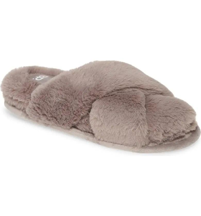 <p>Who wouldn't want these <span>BP. Sophie Criss Cross Plush Bedroom Slippers</span> ($30)?</p>