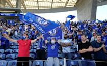 Chelsea fans in the crowd of just over 14,000 at the Estadio do Dragao in Porto