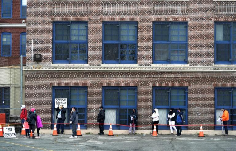 A queue outside a Covid testing center in Newark, New Jersey, on 12 November 2020