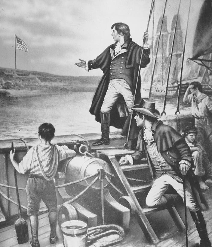 """This painting depicts Francis Scott Key seeing the American flag flying over Fort McHenry in Baltimore Harbor the day after he witnessed the British bombardment of the fort in the War of 1812.  This sighting inspired the poet to write """"The Star-Spangled Banner,"""" which became the official United States national anthem in 1931.  (AP Photo)"""