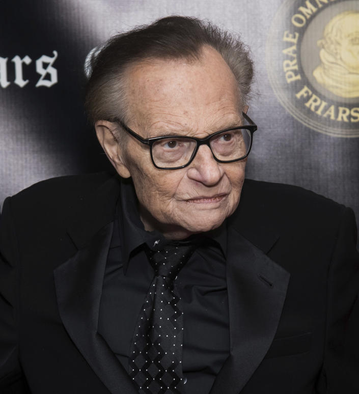 FILE - In this Nov. 12, 2018, file photo, Larry King attends the Friars Club Entertainment Icon Award ceremony honoring Billy Crystal at the Ziegfeld Ballroom in New York. Former CNN talk show host King has been hospitalized with COVID-19 for more than a week, the news channel reported Saturday, Jan. 2, 2021. CNN reported the 87-year-old King contracted the coronavirus and was undergoing treatment at Cedars-Sinai Medical Center in Los Angeles. (Photo by Charles Sykes/Invision/AP, File)