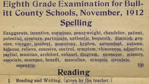 8th Grade Exam Puts Adults to the Test
