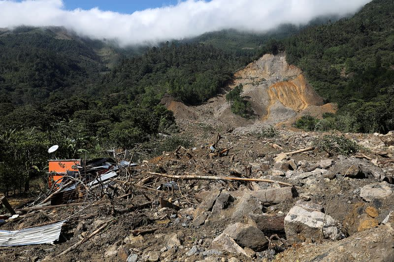 FILE PHOTO: A view of an area hit by a mudslide, caused by heavy rains brought by Storm Eta, as the search for victims continue in the buried village of Queja
