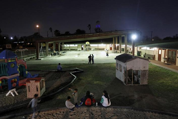 Families at a shelter in Mission, Texas
