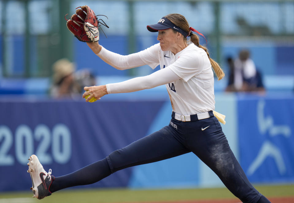 United States' Monica Abbott pitches during the softball game between the United States and Canada at the 2020 Summer Olympics, Thursday, July 22, 2021, in Fukushima , Japan. (AP Photo/Jae C. Hong)