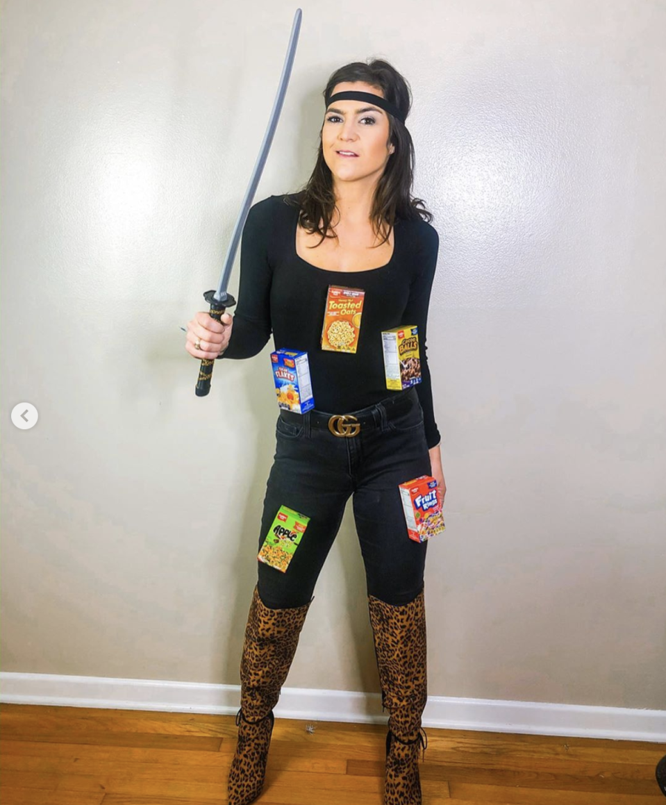 """<p>Put a punny spin on the serial killer costume—tape mini cereal boxes to a black outfit, then add a black headband and a sword. </p><p><a class=""""link rapid-noclick-resp"""" href=""""https://www.instagram.com/p/B4OTYR2Aw1a/"""" rel=""""nofollow noopener"""" target=""""_blank"""" data-ylk=""""slk:SEE MORE"""">SEE MORE</a> </p><p><a class=""""link rapid-noclick-resp"""" href=""""https://www.amazon.com/Forum-Novelties-28505-Ninja-Samurai/dp/B002R9B3VM/?tag=syn-yahoo-20&ascsubtag=%5Bartid%7C10072.g.33547559%5Bsrc%7Cyahoo-us"""" rel=""""nofollow noopener"""" target=""""_blank"""" data-ylk=""""slk:SHOP SWORD"""">SHOP SWORD</a></p>"""