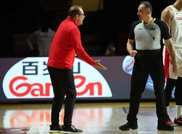 Canada's head coach Nick Nurse reacts to a call made by a referee during the semifinal loss to the Czech Republic on Saturday at the last-chance Olympic qualifier in Victoria, B.C. (Chad Hipolito/The Canadian Press - image credit)
