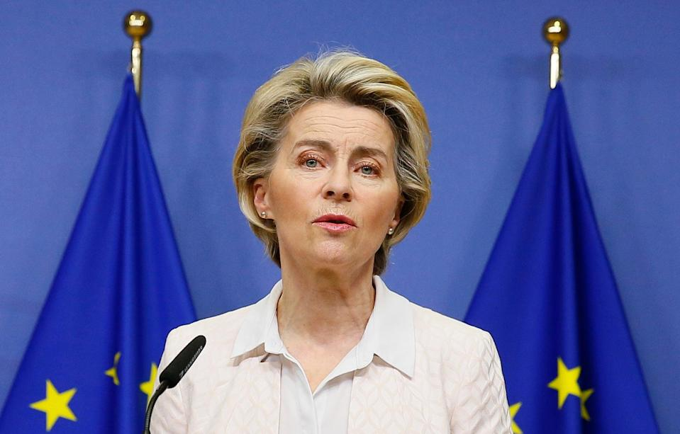 European Commission president Ursula von der Leyen makes a statement following her phone call with Boris Johnson (AP)