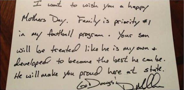 Mississippi State coach Dan Mullen's letter to a recruit's mother — Twitter